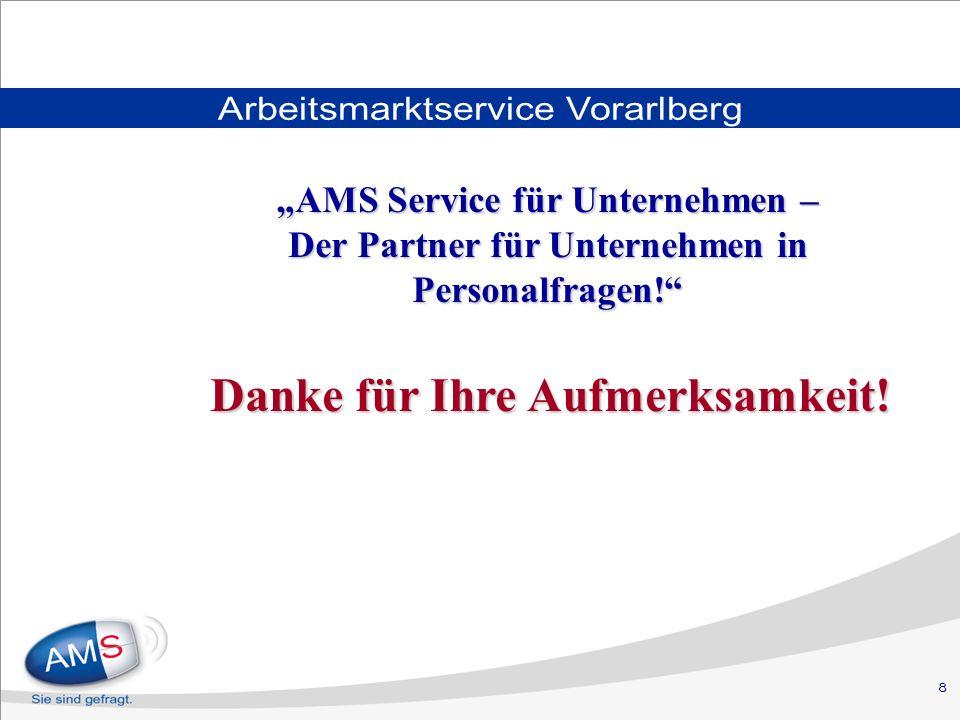 8 Arbeitsmarktservice Vorarlberg Danke für Ihre Aufmerksamkeit.