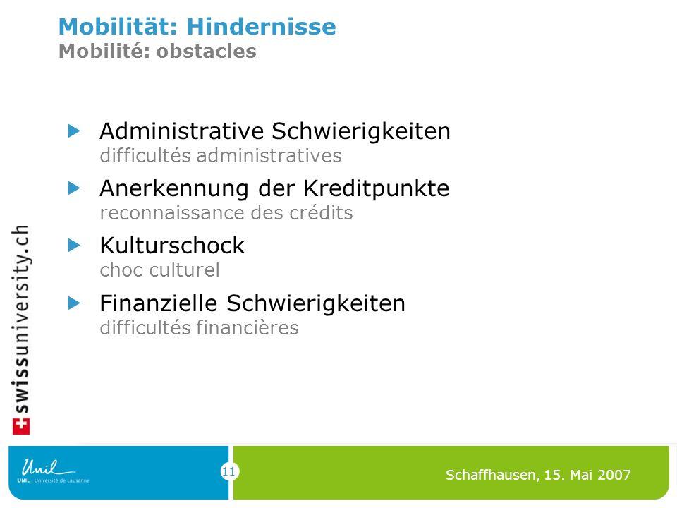 11 Schaffhausen, 15. Mai 2007 Mobilität: Hindernisse Mobilité: obstacles Administrative Schwierigkeiten difficultés administratives Anerkennung der Kr