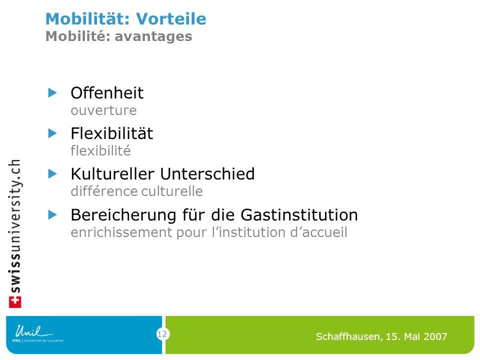 12 Schaffhausen, 15. Mai 2007 Mobilität: Vorteile Mobilité: avantages Offenheit ouverture Flexibilität flexibilité Kultureller Unterschied différence