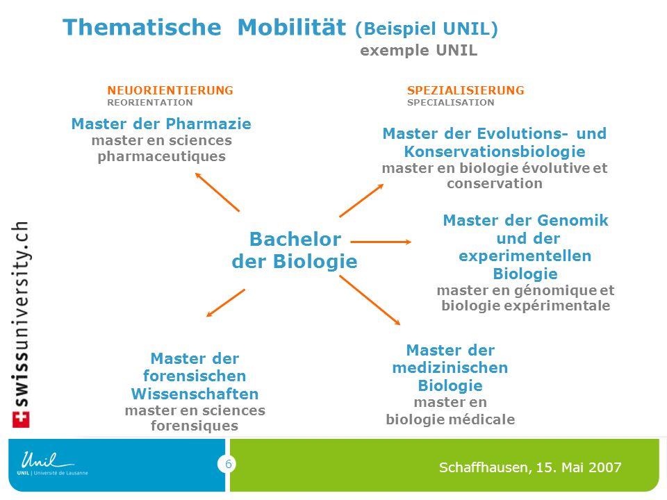 6 Schaffhausen, 15. Mai 2007 Thematische Mobilität (Beispiel UNIL) exemple UNIL Bachelor der Biologie Master der Pharmazie master en sciences pharmace