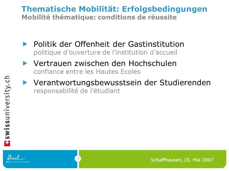 7 Schaffhausen, 15. Mai 2007 Thematische Mobilität: Erfolgsbedingungen Mobilité thématique: conditions de réussite Politik der Offenheit der Gastinsti