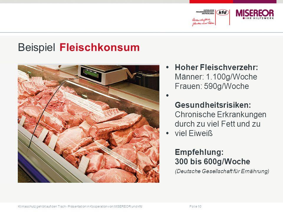 Folie 10 Klimaschutz gehört auf den Tisch ˗ Präsentation in Kooperation von MISEREOR und kfd Beispiel Fleischkonsum Hoher Fleischverzehr: Männer: 1.10