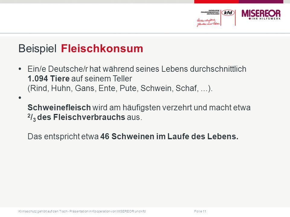 Folie 11 Klimaschutz gehört auf den Tisch ˗ Präsentation in Kooperation von MISEREOR und kfd Beispiel Fleischkonsum Ein/e Deutsche/r hat während seine