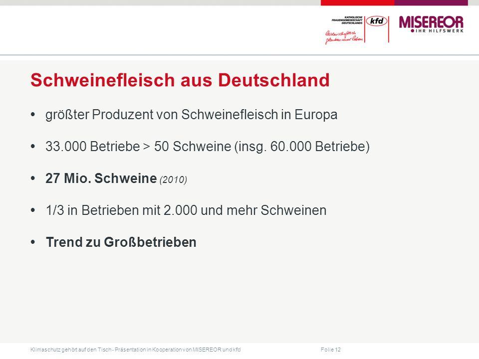 Folie 12 Klimaschutz gehört auf den Tisch ˗ Präsentation in Kooperation von MISEREOR und kfd Schweinefleisch aus Deutschland größter Produzent von Schweinefleisch in Europa 33.000 Betriebe > 50 Schweine (insg.