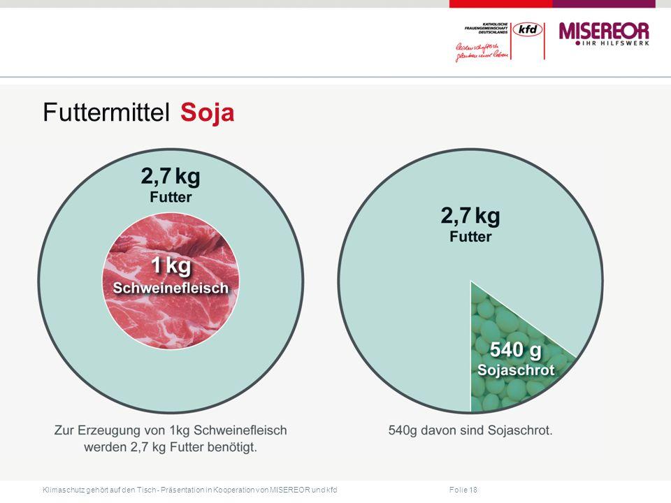 Folie 18 Klimaschutz gehört auf den Tisch ˗ Präsentation in Kooperation von MISEREOR und kfd Futtermittel Soja