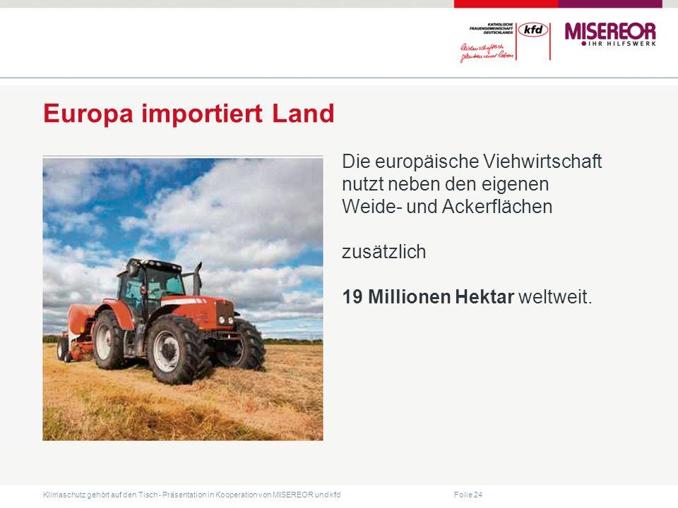 Folie 24 Klimaschutz gehört auf den Tisch ˗ Präsentation in Kooperation von MISEREOR und kfd Europa importiert Land Die europäische Viehwirtschaft nutzt neben den eigenen Weide- und Ackerflächen zusätzlich 19 Millionen Hektar weltweit.