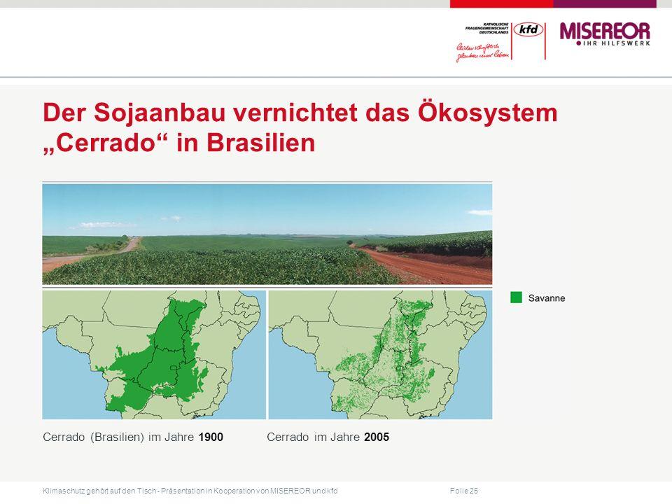 Folie 25 Klimaschutz gehört auf den Tisch ˗ Präsentation in Kooperation von MISEREOR und kfd Cerrado (Brasilien) im Jahre 1900Cerrado im Jahre 2005 Der Sojaanbau vernichtet das Ökosystem Cerrado in Brasilien