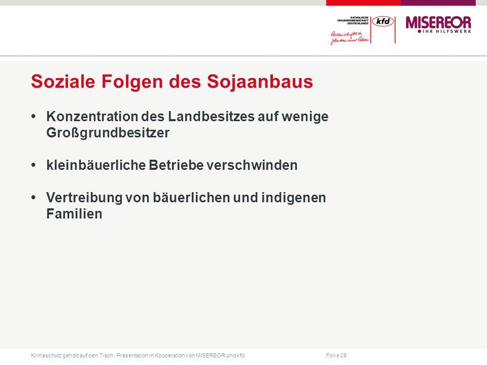 Folie 28 Klimaschutz gehört auf den Tisch ˗ Präsentation in Kooperation von MISEREOR und kfd Soziale Folgen des Sojaanbaus Konzentration des Landbesit