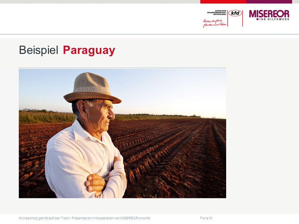 Folie 31 Klimaschutz gehört auf den Tisch ˗ Präsentation in Kooperation von MISEREOR und kfd Beispiel Paraguay