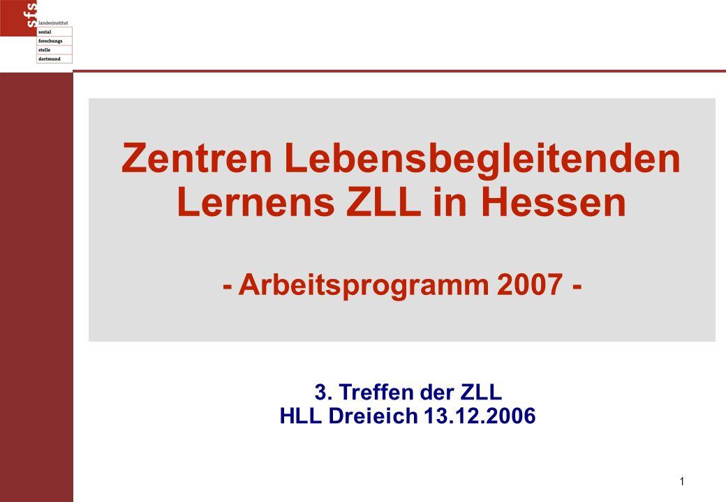 1 Zentren Lebensbegleitenden Lernens ZLL in Hessen - Arbeitsprogramm 2007 - 3. Treffen der ZLL HLL Dreieich 13.12.2006