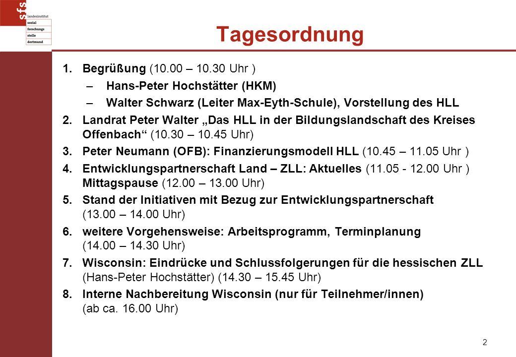 2 Tagesordnung 1.Begrüßung (10.00 – 10.30 Uhr ) –Hans-Peter Hochstätter (HKM) –Walter Schwarz (Leiter Max-Eyth-Schule), Vorstellung des HLL 2.Landrat