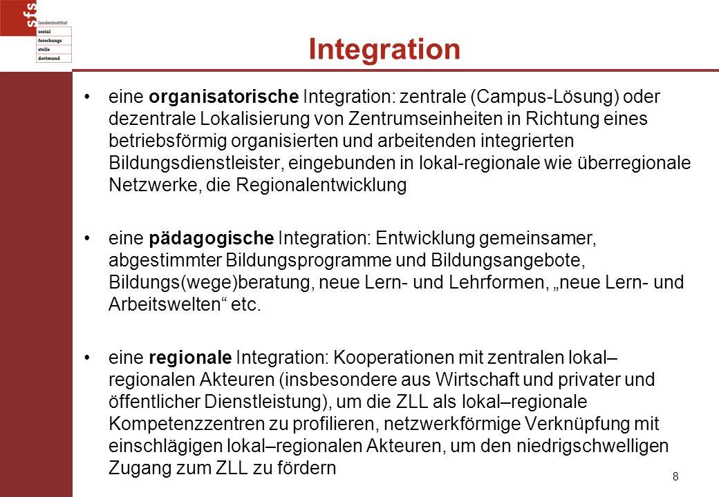 8 Integration eine organisatorische Integration: zentrale (Campus-Lösung) oder dezentrale Lokalisierung von Zentrumseinheiten in Richtung eines betrie