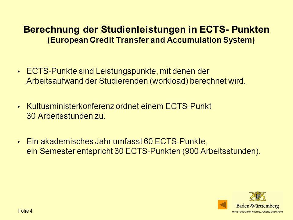 Folie 4 Berechnung der Studienleistungen in ECTS- Punkten (European Credit Transfer and Accumulation System) ECTS-Punkte sind Leistungspunkte, mit denen der Arbeitsaufwand der Studierenden (workload) berechnet wird.
