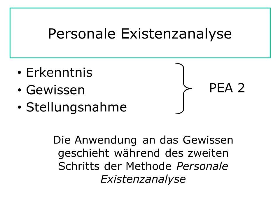 Personale Existenzanalyse Erkenntnis Gewissen Stellungsnahme PEA 2 Die Anwendung an das Gewissen geschieht während des zweiten Schritts der Methode Personale Existenzanalyse
