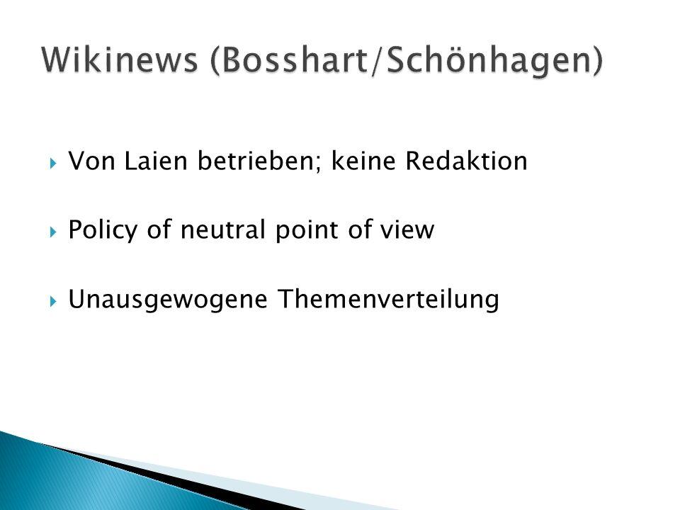 Von Laien betrieben; keine Redaktion Policy of neutral point of view Unausgewogene Themenverteilung