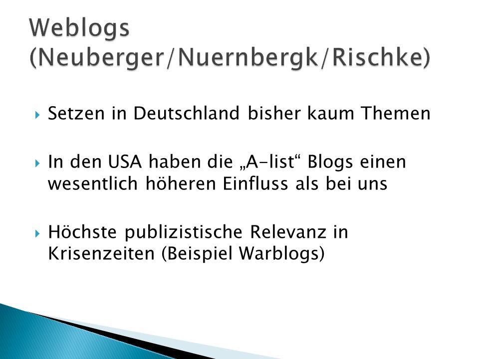 Setzen in Deutschland bisher kaum Themen In den USA haben die A-list Blogs einen wesentlich höheren Einfluss als bei uns Höchste publizistische Releva