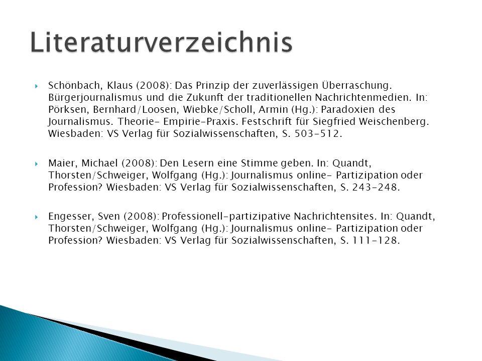Schönbach, Klaus (2008): Das Prinzip der zuverlässigen Überraschung. Bürgerjournalismus und die Zukunft der traditionellen Nachrichtenmedien. In: Pörk