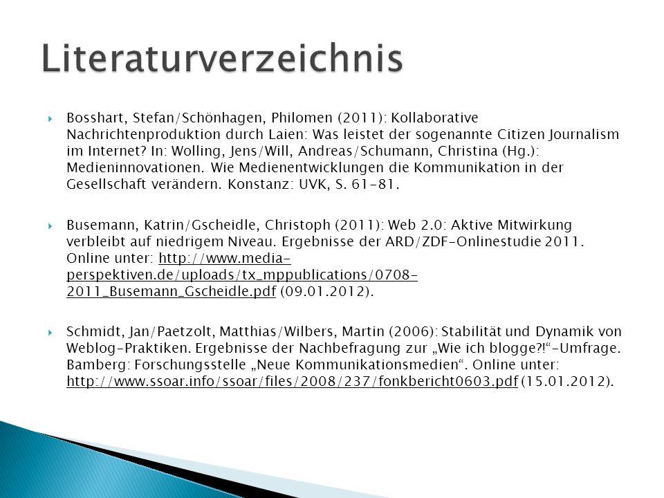Bosshart, Stefan/Schönhagen, Philomen (2011): Kollaborative Nachrichtenproduktion durch Laien: Was leistet der sogenannte Citizen Journalism im Intern