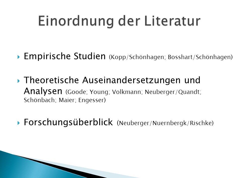 Empirische Studien (Kopp/Schönhagen; Bosshart/Schönhagen) Theoretische Auseinandersetzungen und Analysen (Goode; Young; Volkmann; Neuberger/Quandt; Sc