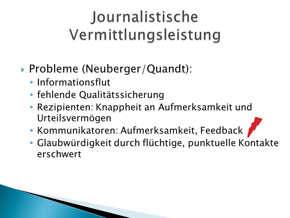 Probleme (Neuberger/Quandt): Informationsflut fehlende Qualitätssicherung Rezipienten: Knappheit an Aufmerksamkeit und Urteilsvermögen Kommunikatoren:
