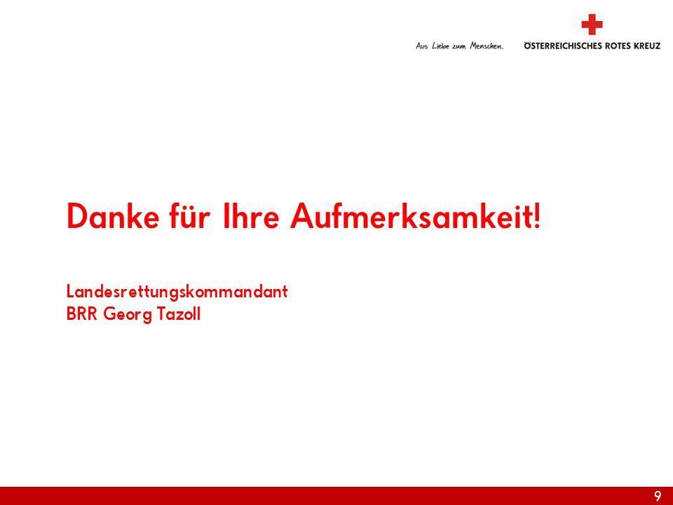 9 Danke für Ihre Aufmerksamkeit! Landesrettungskommandant BRR Georg Tazoll