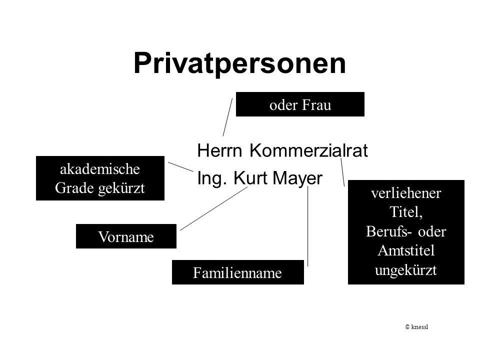 Privatpersonen Herrn Kommerzialrat Ing. Kurt Mayer Vorname akademische Grade gekürzt verliehener Titel, Berufs- oder Amtstitel ungekürzt oder Frau Fam