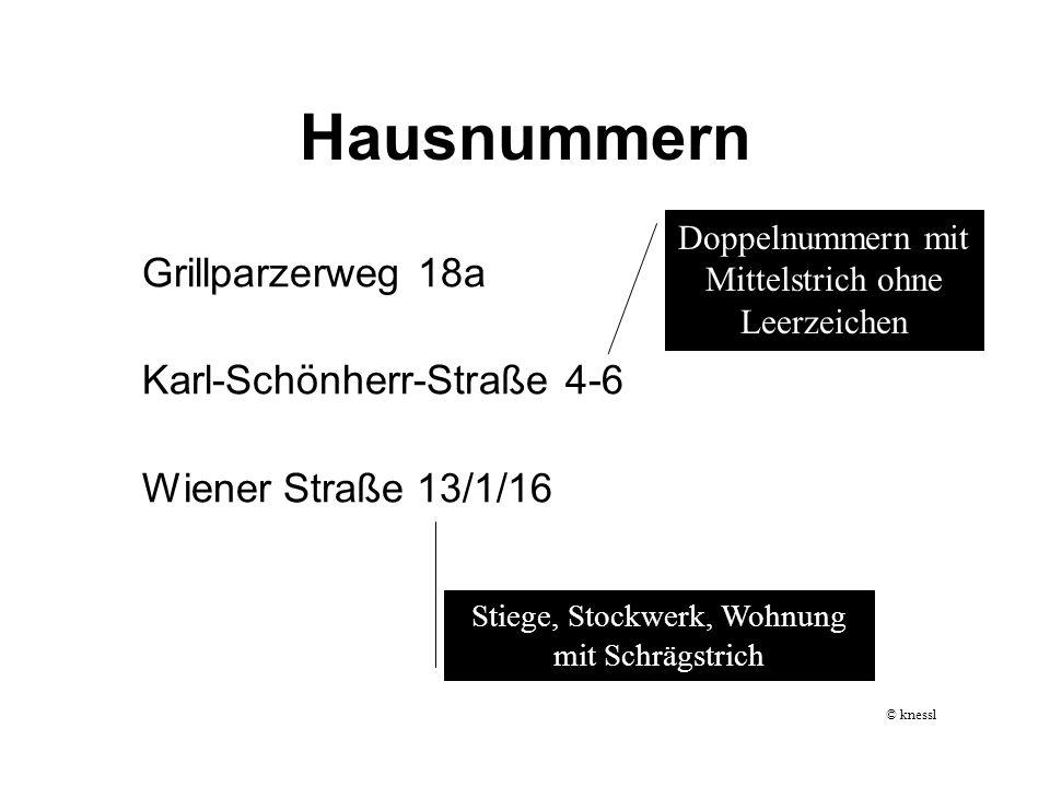 Hausnummern Grillparzerweg 18a Karl-Schönherr-Straße 4-6 Wiener Straße 13/1/16 Doppelnummern mit Mittelstrich ohne Leerzeichen Stiege, Stockwerk, Wohn