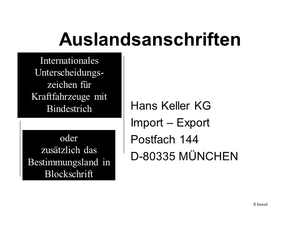 Auslandsanschriften Hans Keller KG Import – Export Postfach 144 D-80335 MÜNCHEN Internationales Unterscheidungs- zeichen für Kraftfahrzeuge mit Bindes