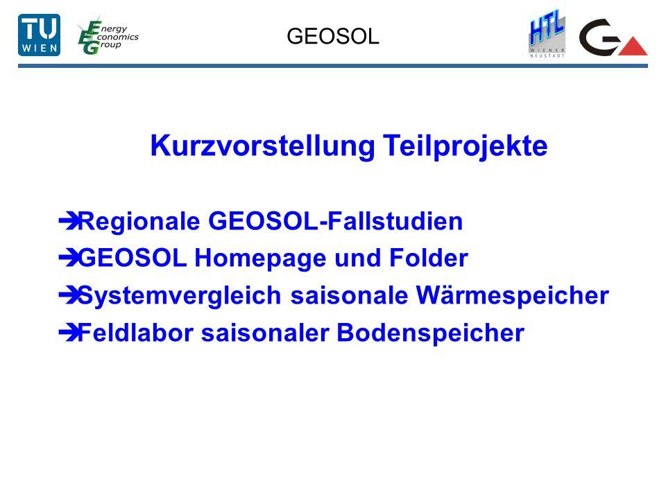 GEOSOL Kurzvorstellung Teilprojekte Regionale GEOSOL-Fallstudien GEOSOL Homepage und Folder Systemvergleich saisonale Wärmespeicher Feldlabor saisonaler Bodenspeicher