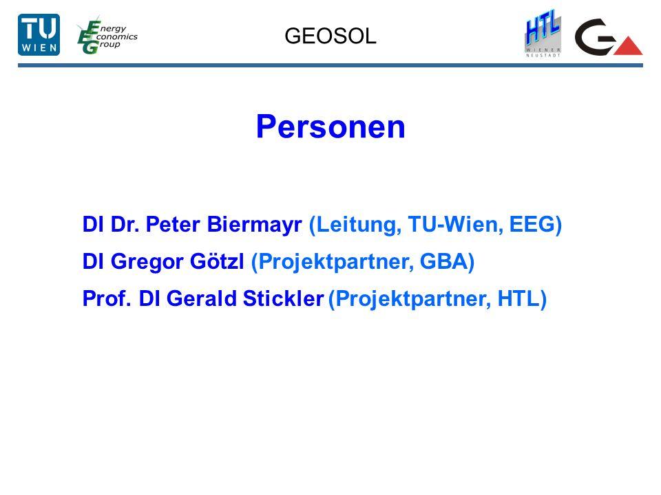 GEOSOL Personen DI Dr. Peter Biermayr (Leitung, TU-Wien, EEG) DI Gregor Götzl (Projektpartner, GBA) Prof. DI Gerald Stickler (Projektpartner, HTL)