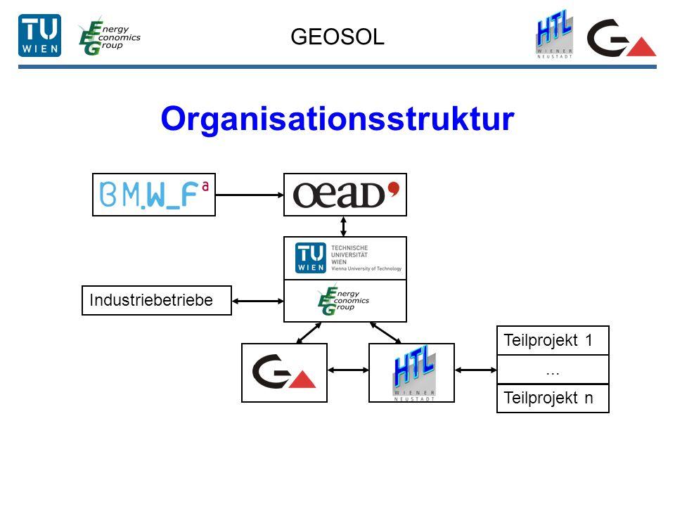 GEOSOL Organisationsstruktur Teilprojekt 1... Teilprojekt n Industriebetriebe
