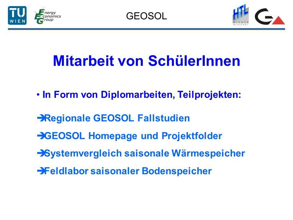 GEOSOL Mitarbeit von SchülerInnen In Form von Diplomarbeiten, Teilprojekten: Regionale GEOSOL Fallstudien GEOSOL Homepage und Projektfolder Systemverg