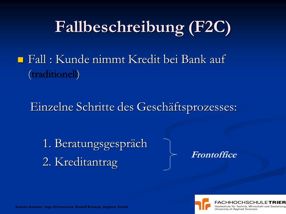 Sascha Kuhnen, Ingo Girmscheid, Rudolf Rausch, Dagmar Scholl Fallbeschreibung (F2C) Fall : Kunde nimmt Kredit bei Bank auf (traditionell) Fall : Kunde