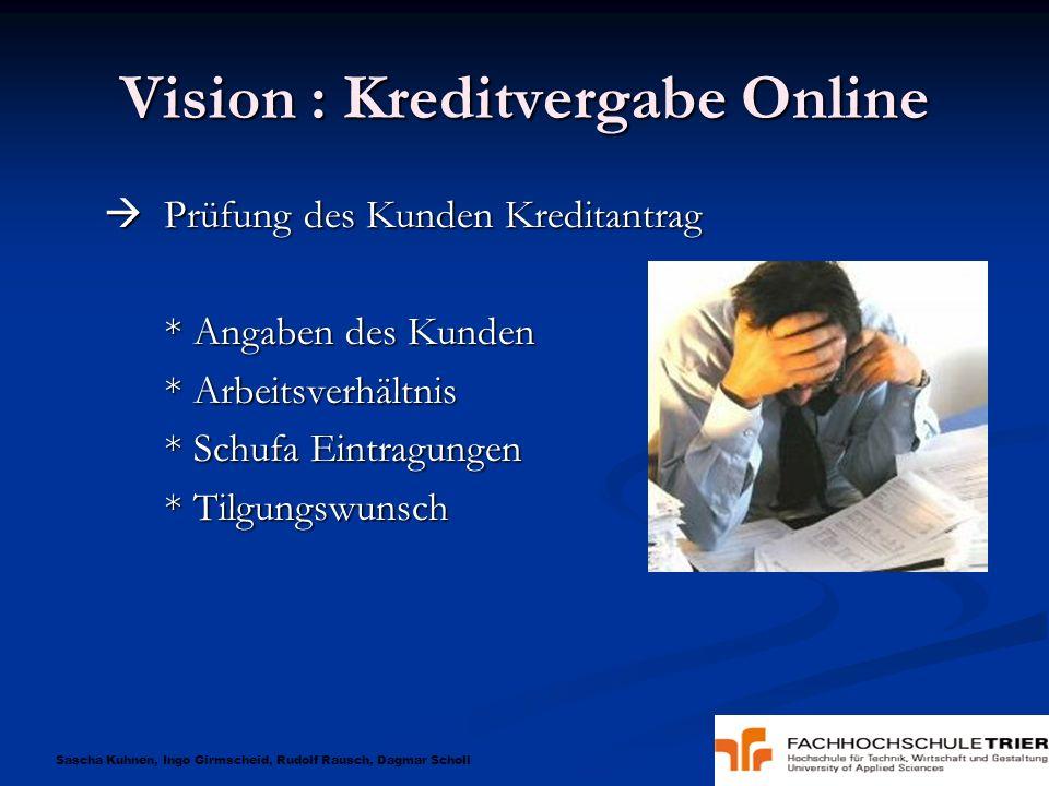 Sascha Kuhnen, Ingo Girmscheid, Rudolf Rausch, Dagmar Scholl Vision : Kreditvergabe Online Prüfung des Kunden Kreditantrag Prüfung des Kunden Kreditan