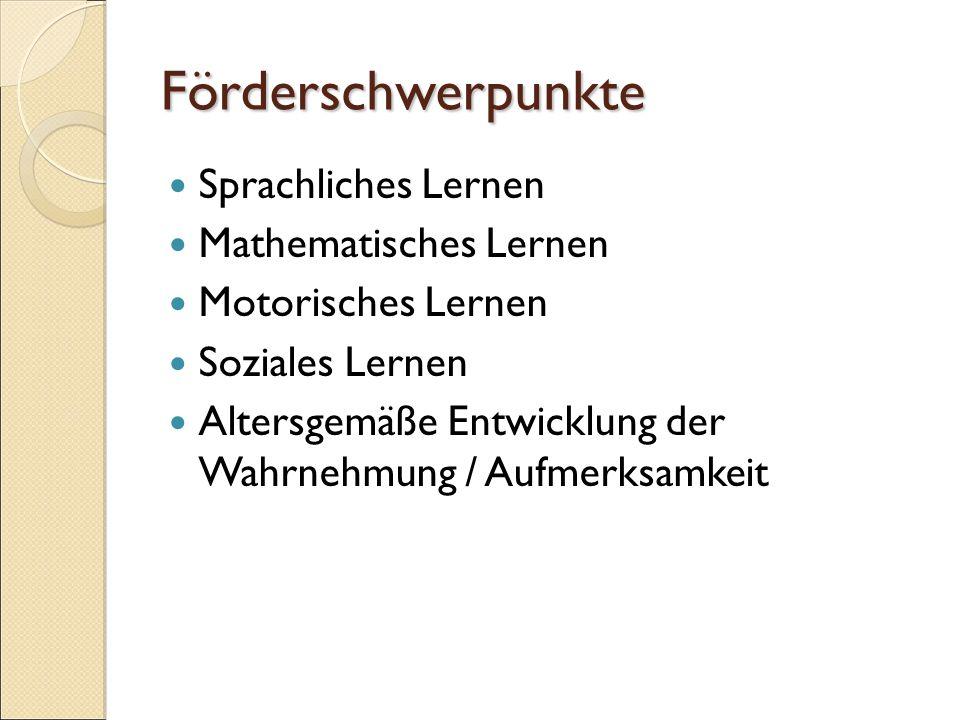 Förderschwerpunkte Sprachliches Lernen Mathematisches Lernen Motorisches Lernen Soziales Lernen Altersgemäße Entwicklung der Wahrnehmung / Aufmerksamkeit