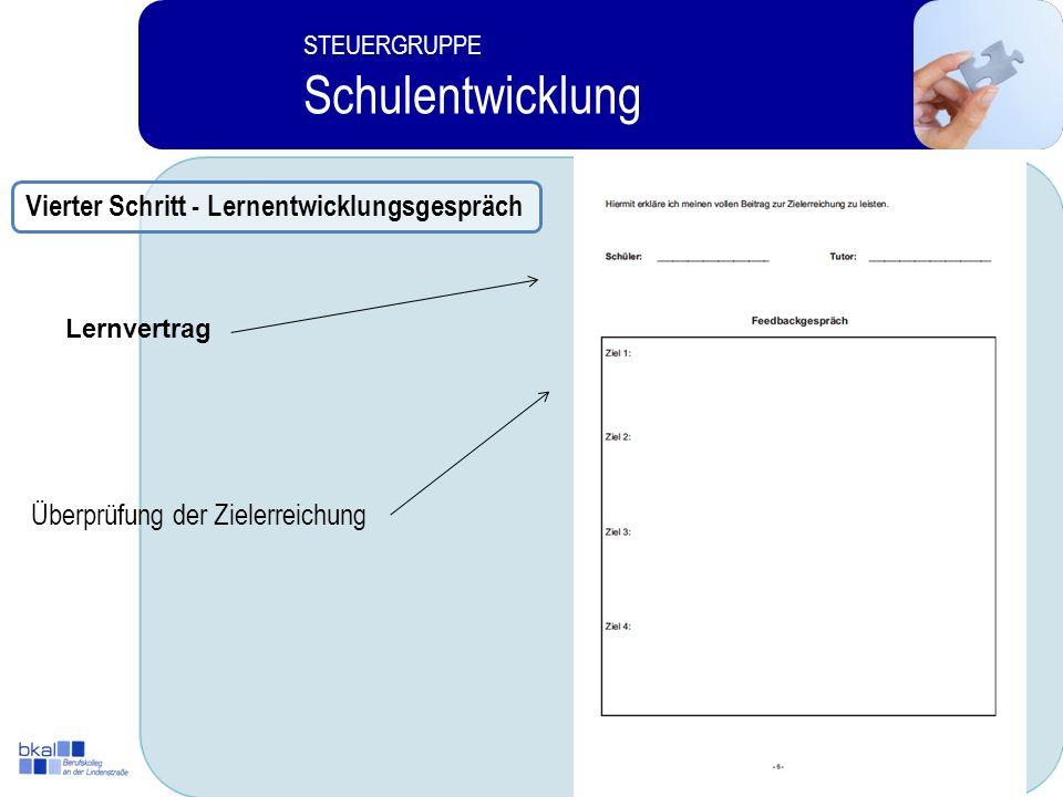 11 STEUERGRUPPE Schulentwicklung Überprüfung der Zielerreichung Lernvertrag Vierter Schritt - Lernentwicklungsgespräch