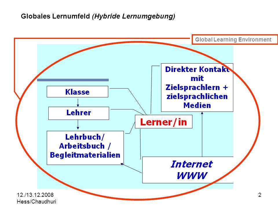 12./13.12.2008 Hess/Chaudhuri 2 Global Learning Environment Globales Lernumfeld (Hybride Lernumgebung)