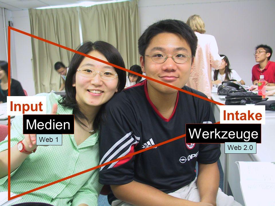 12./13.12.2008 Hess/Chaudhuri 9 Input Intake Medien Werkzeuge Web 1 Web 2.0