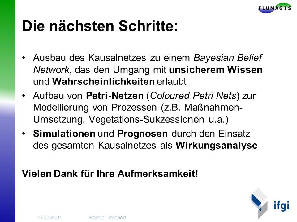 15.03.2004Reiner Borchert Die nächsten Schritte: Ausbau des Kausalnetzes zu einem Bayesian Belief Network, das den Umgang mit unsicherem Wissen und Wahrscheinlichkeiten erlaubt Aufbau von Petri-Netzen (Coloured Petri Nets) zur Modellierung von Prozessen (z.B.