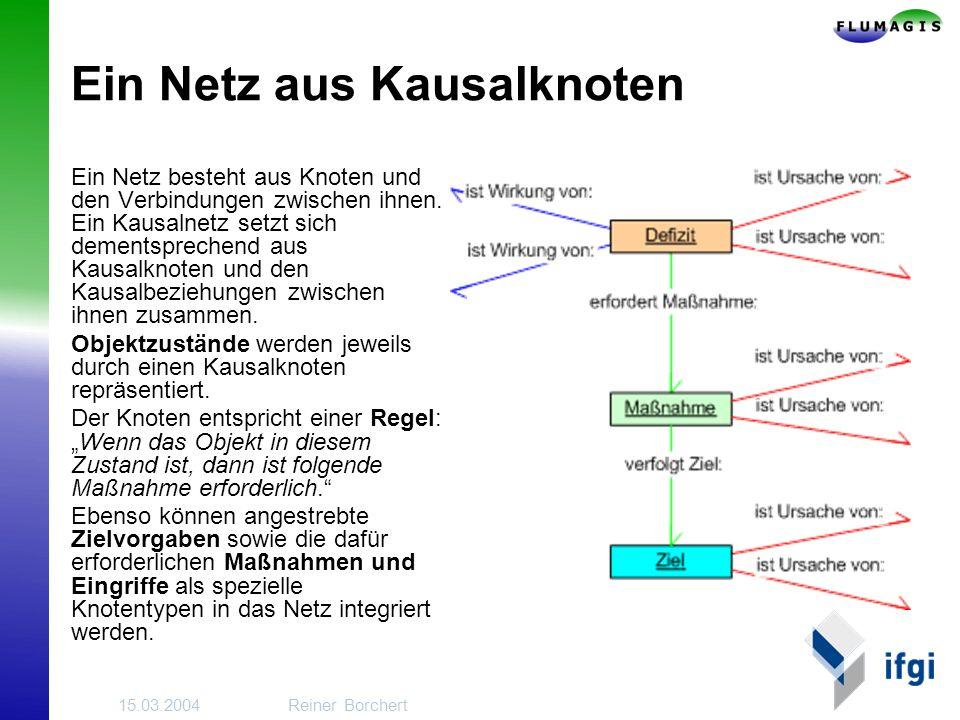 15.03.2004Reiner Borchert Ein Netz aus Kausalknoten Ein Netz besteht aus Knoten und den Verbindungen zwischen ihnen.