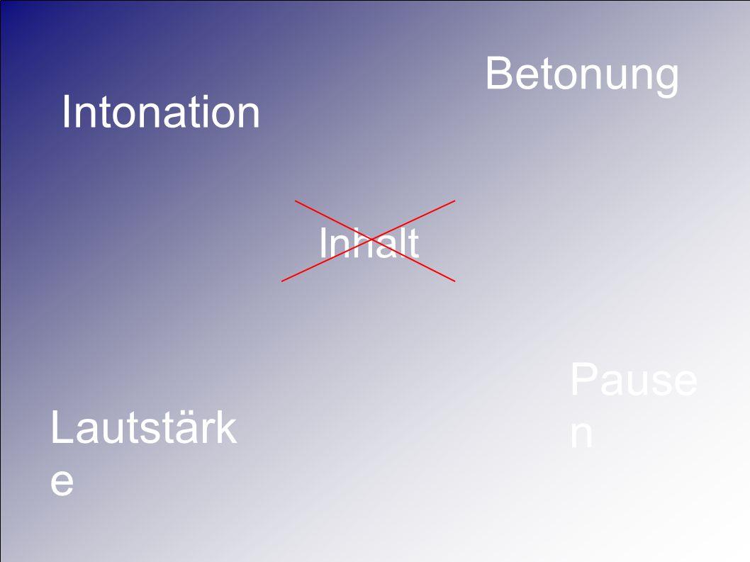 Inhalt Betonung Intonation Lautstärk e Pause n
