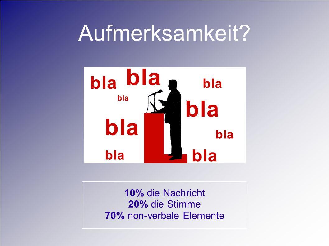 Aufmerksamkeit? 10% die Nachricht 20% die Stimme 70% non-verbale Elemente