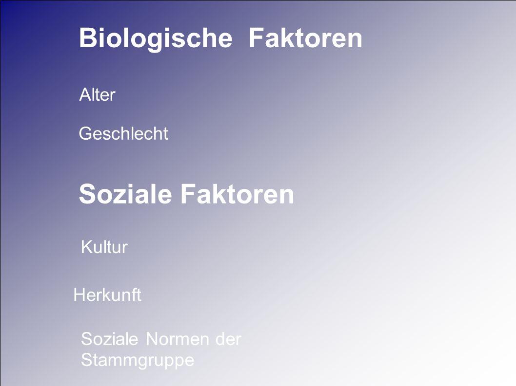 Soziale Faktoren Herkunft Kultur Soziale Normen der Stammgruppe Geschlecht Biologische Faktoren Alter