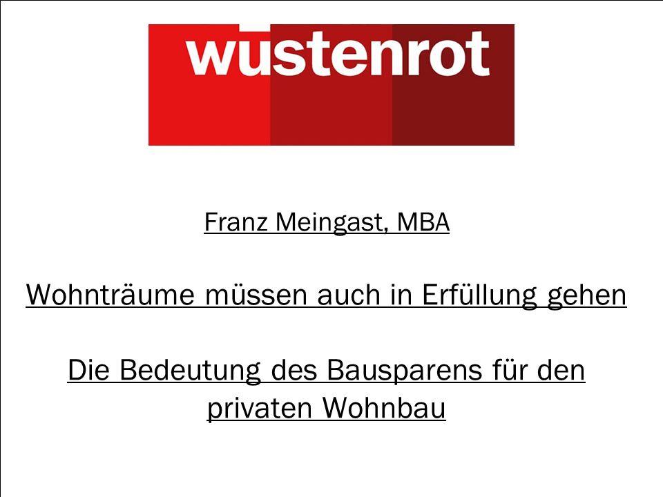 1 Franz Meingast, MBA Wohnträume müssen auch in Erfüllung gehen Die Bedeutung des Bausparens für den privaten Wohnbau
