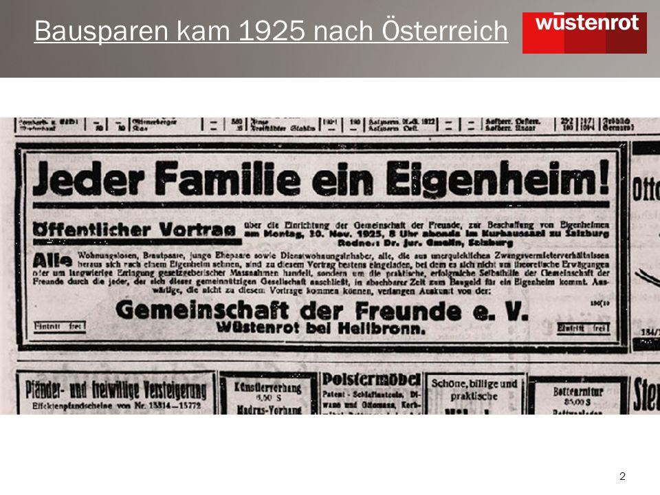 2 Bausparen kam 1925 nach Österreich