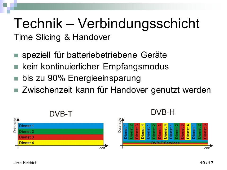 Jens Heidrich 10 / 17 Technik – Verbindungsschicht Time Slicing & Handover speziell für batteriebetriebene Geräte kein kontinuierlicher Empfangsmodus bis zu 90% Energieeinsparung Zwischenzeit kann für Handover genutzt werden