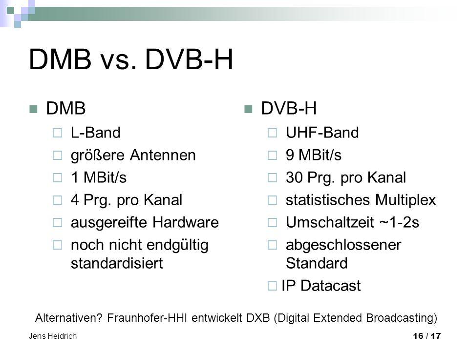 Jens Heidrich 16 / 17 DMB vs. DVB-H DMB L-Band größere Antennen 1 MBit/s 4 Prg.