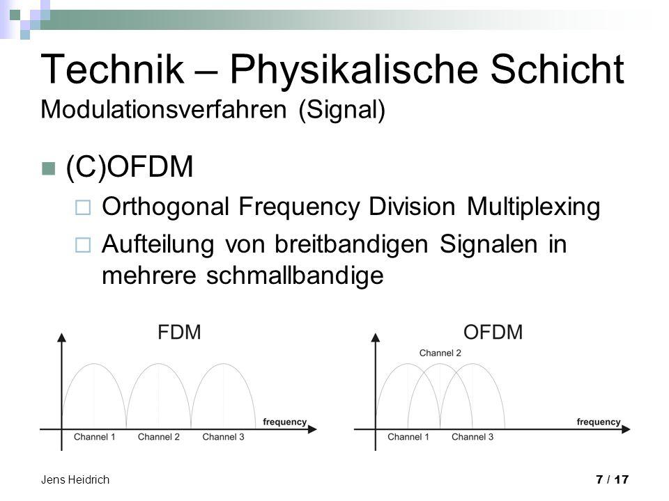 Jens Heidrich 7 / 17 Technik – Physikalische Schicht Modulationsverfahren (Signal) (C)OFDM Orthogonal Frequency Division Multiplexing Aufteilung von breitbandigen Signalen in mehrere schmallbandige