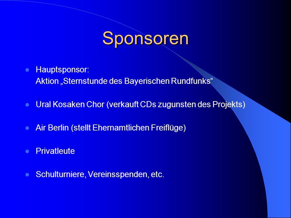 Sponsoren Hauptsponsor: Aktion Sternstunde des Bayerischen Rundfunks Ural Kosaken Chor (verkauft CDs zugunsten des Projekts) Air Berlin (stellt Eherna