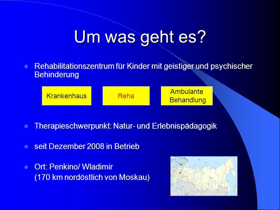 Um was geht es? Rehabilitationszentrum für Kinder mit geistiger und psychischer Behinderung Therapieschwerpunkt: Natur- und Erlebnispädagogik seit Dez